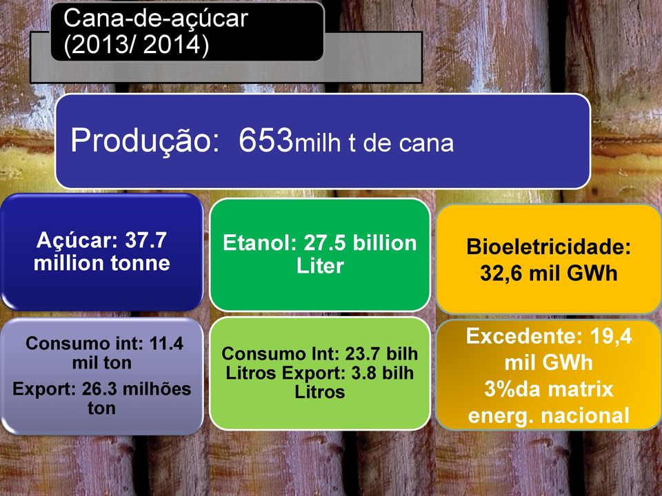 5 billion Liter Bioeletricidade: 32,6 mil GWh Consumo int: 11.