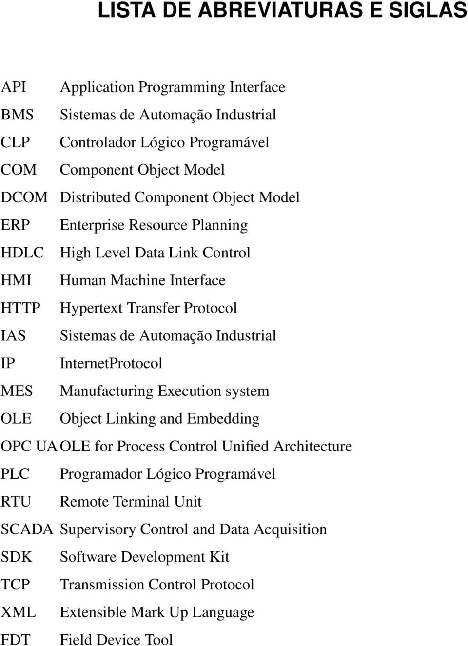 Automação Industrial IP InternetProtocol MES Manufacturing Execution system OLE Object Linking and Embedding OPC UAOLE for Process Control Unified Architecture PLC Programador Lógico
