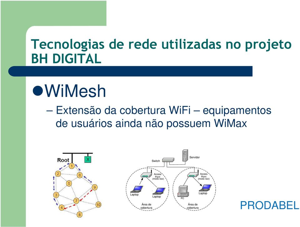 possuem WiMax Switch Servidor Access Point (modo raiz) Access