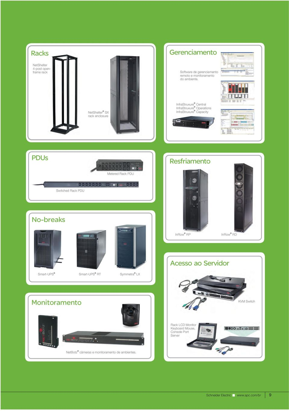 Metered Rack PDU Switched Rack PDU No-breaks InRow RP InRow RD Acesso ao Servidor Smart-UPS Smart-UPS RT Symmetra LX