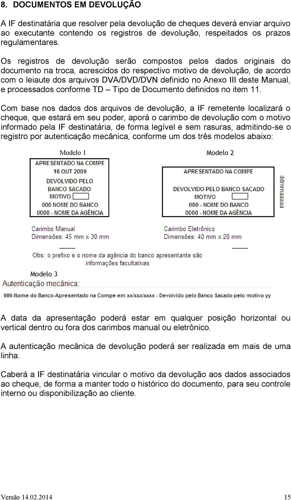 III deste Manual, e processados conforme TD Tipo de Documento definidos no item 11.