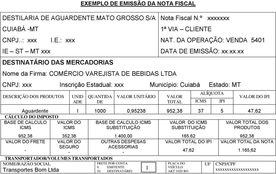 TOTAL ALÍQUOTA IPI VALOR DO IPI Aguardente l 1000 0,95238 37 5 47,62 CÁLCULO DO IMPOSTO BASE DE CALCULO VALOR DO BASE DE CALCULO VALOR DO VALOR TOTAL DOS 352,38 1.