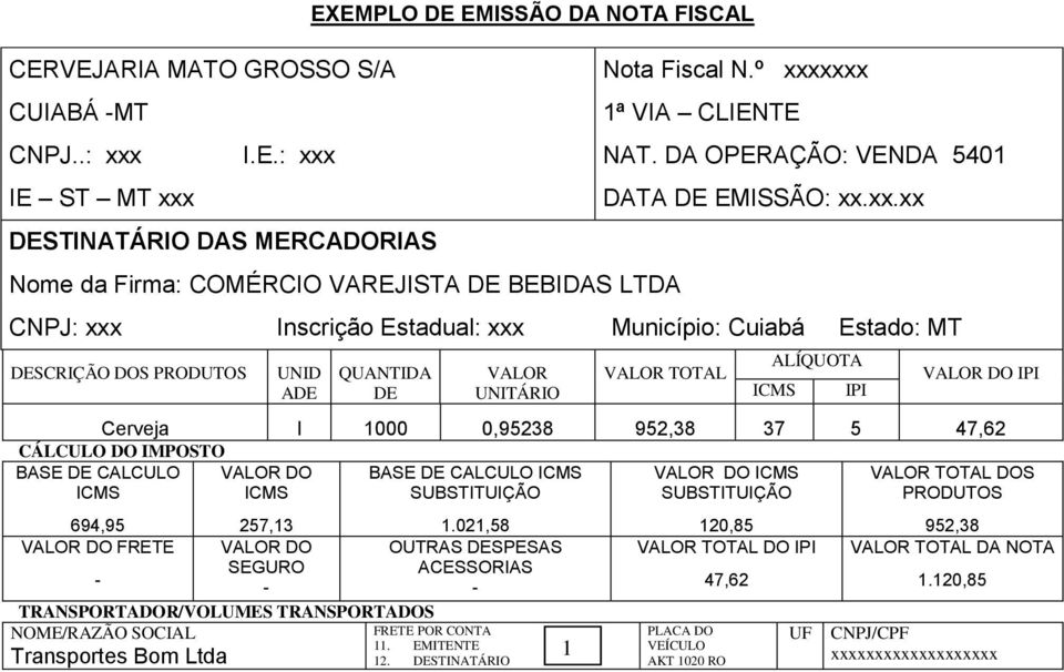 TOTAL ALÍQUOTA IPI VALOR DO IPI Cerveja l 1000 0,95238 37 5 47,62 CÁLCULO DO IMPOSTO BASE DE CALCULO VALOR DO BASE DE CALCULO VALOR DO VALOR TOTAL DOS 694,95 257,13 1.