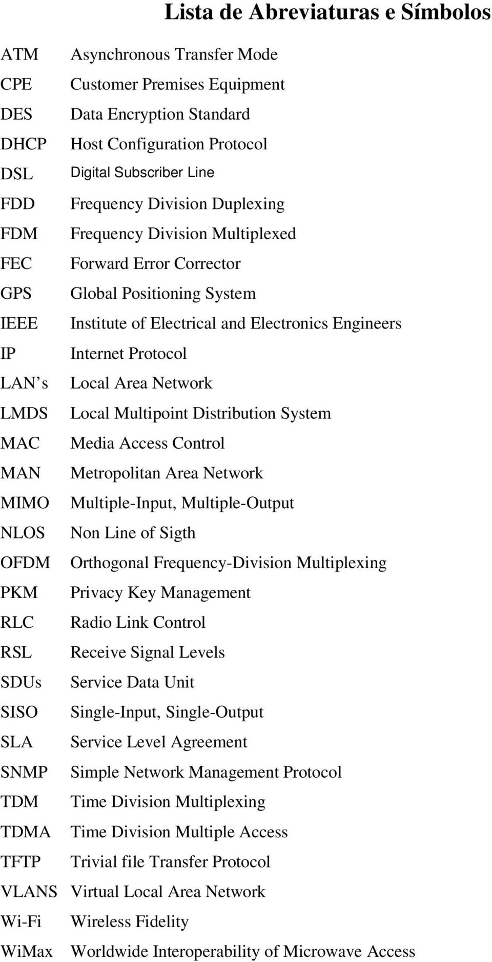 Area Network LMDS Local Multipoint Distribution System MAC Media Access Control MAN Metropolitan Area Network MIMO Multiple-Input, Multiple-Output NLOS Non Line of Sigth OFDM Orthogonal