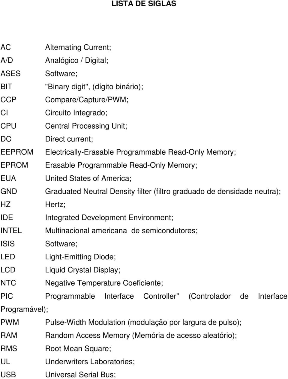 graduado de densidade neutra); HZ Hertz; IDE Integrated Development Environment; INTEL Multinacional americana de semicondutores; ISIS Software; LED Light-Emitting Diode; LCD Liquid Crystal Display;
