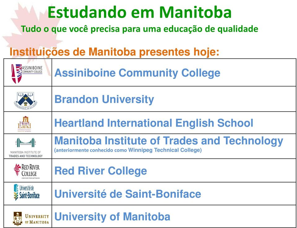 International English School Manitoba Institute of Trades and Technology (anteriormente