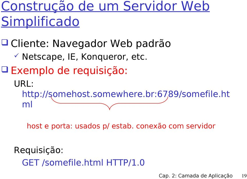 somewhere.br:6789/somefile.ht ml host e porta: usados p/ estab.