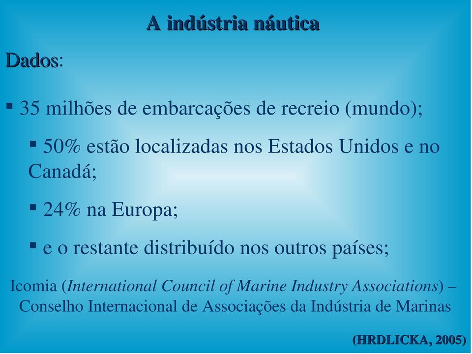 distribuído nos outros países; Icomia (International Council of Marine Industry