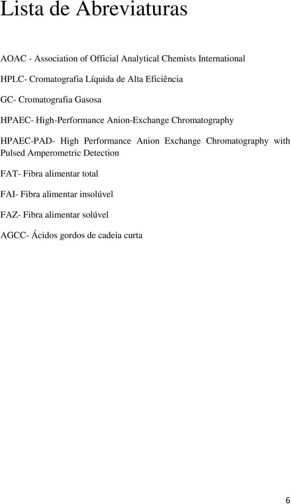 HPAEC-PAD- High Performance Anion Exchange Chromatography with Pulsed Amperometric Detection FAT- Fibra