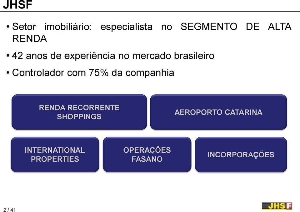 75% da companhia RENDA RECORRENTE SHOPPINGS AEROPORTO CATARINA