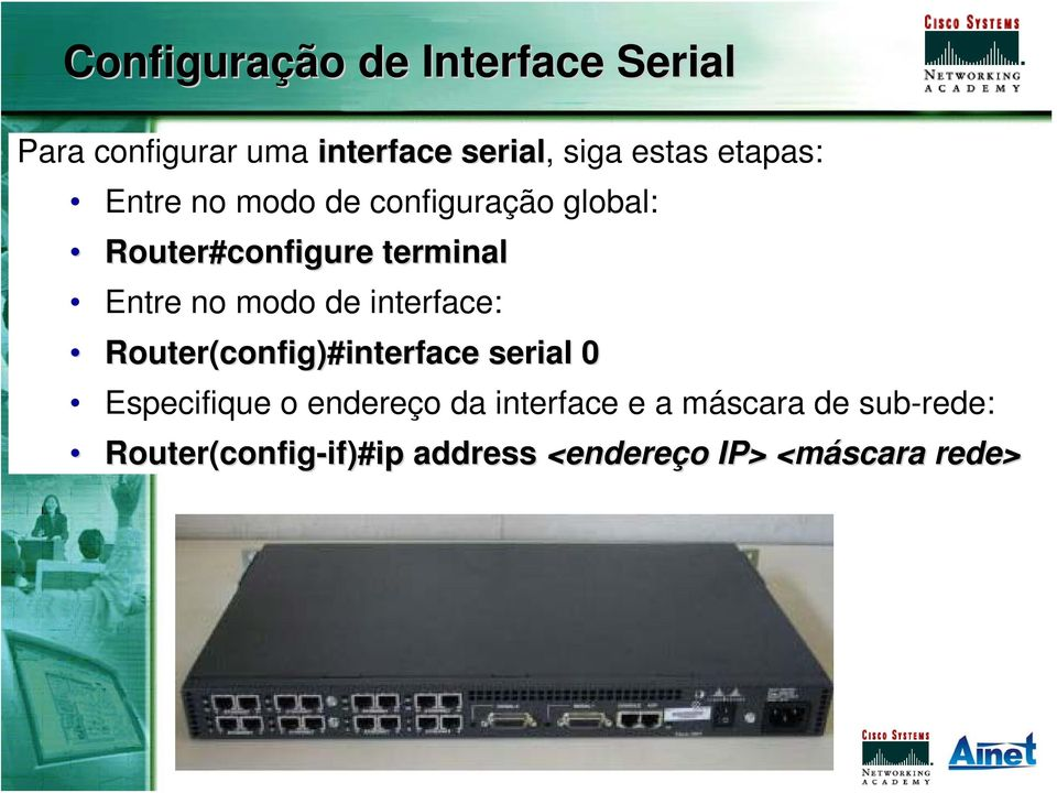 modo de interface: config)#interface serial 0 Especifique o endereço da interface