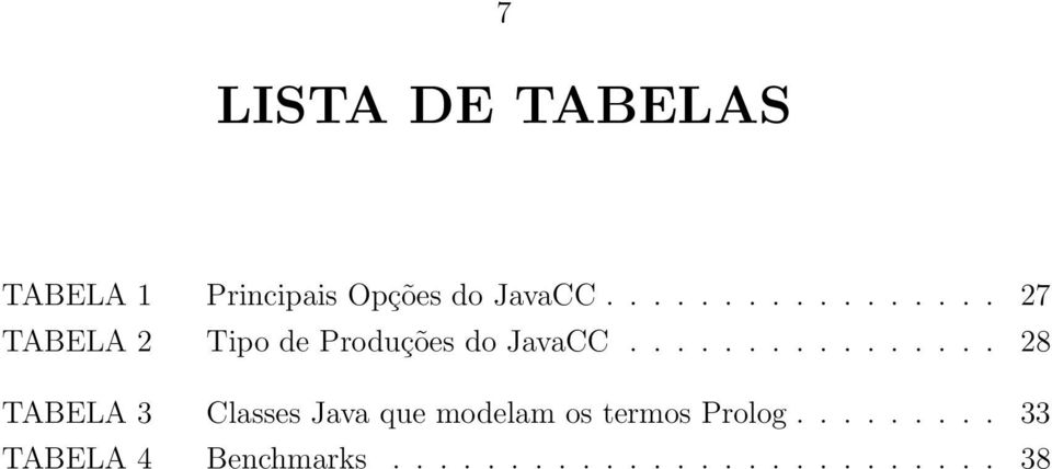 ............... 28 TABELA 3 Classes Java que modelam os termos Prolog.