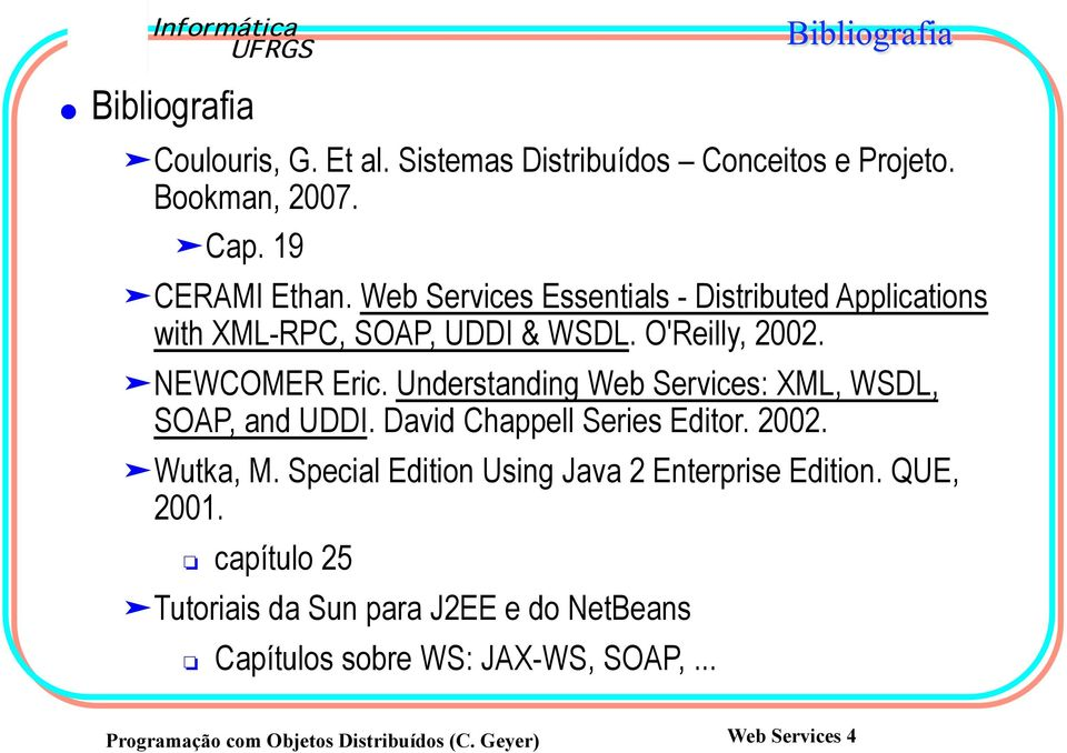 Understanding Web Services: XML, WSDL, SOAP, and UDDI. David Chappell Series Editor. 2002. Wutka, M.