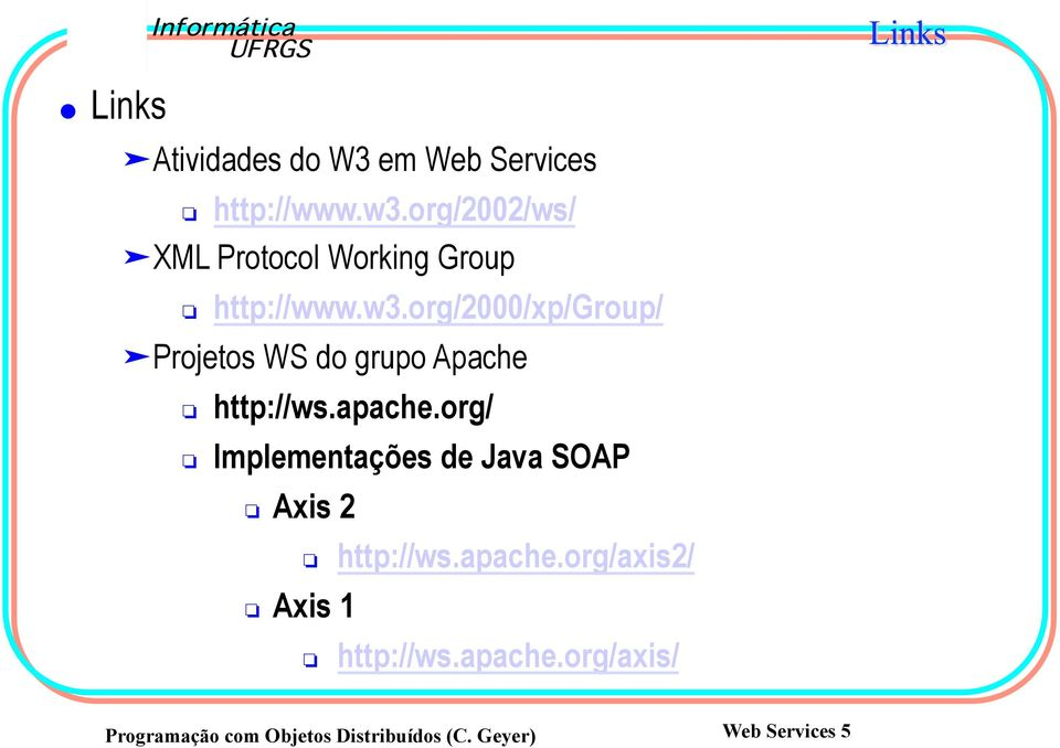 org/2000/xp/group/ Projetos WS do grupo Apache http://ws.apache.