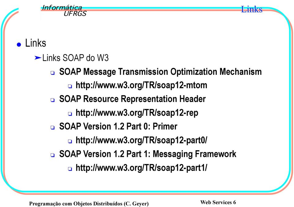 org/tr/soap12-rep SOAP Version 1.2 Part 0: Primer http://www.w3.