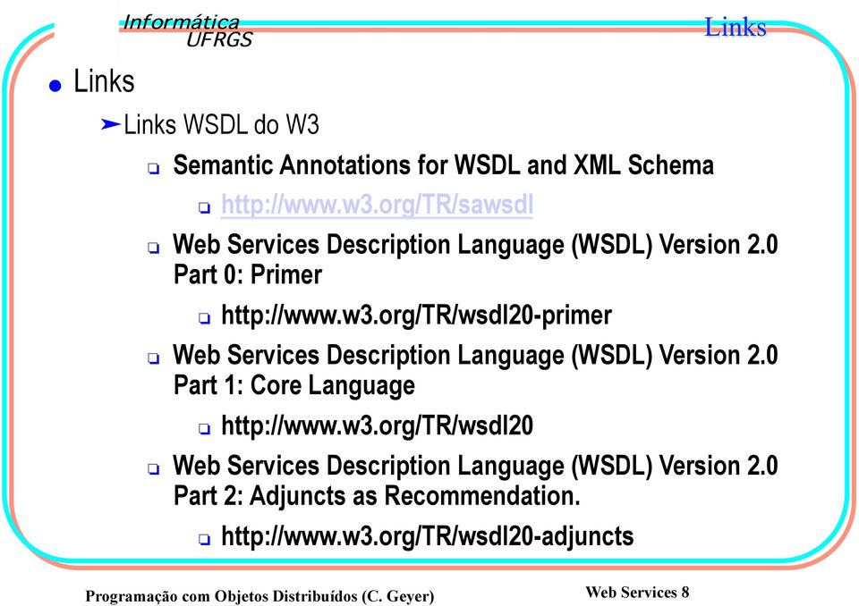 org/tr/wsdl20-primer Web Services Description Language (WSDL) Version 2.0 Part 1: Core Language http://www.w3.