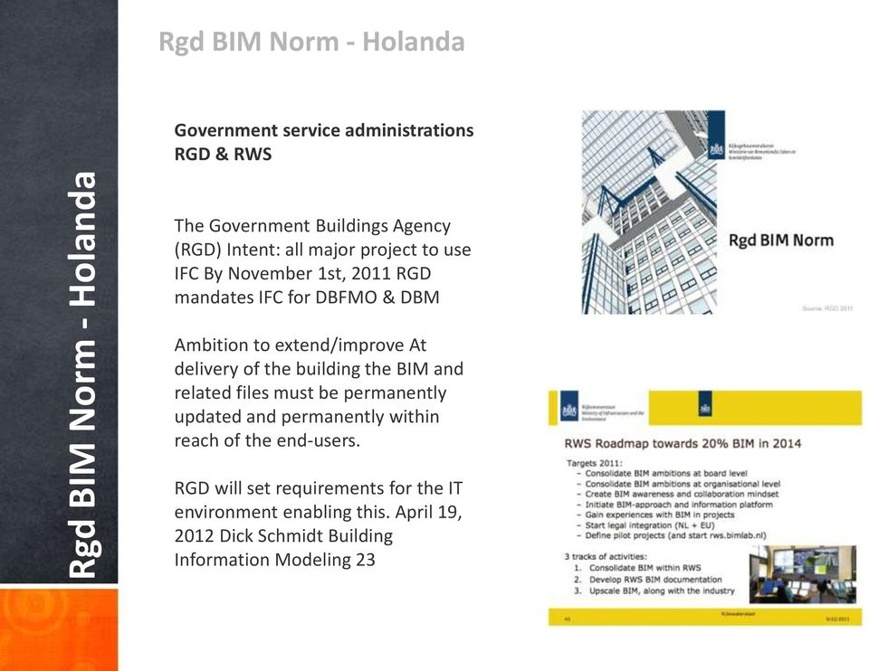 At delivery of the building the BIM and related files must be permanently updated and permanently within reach of the