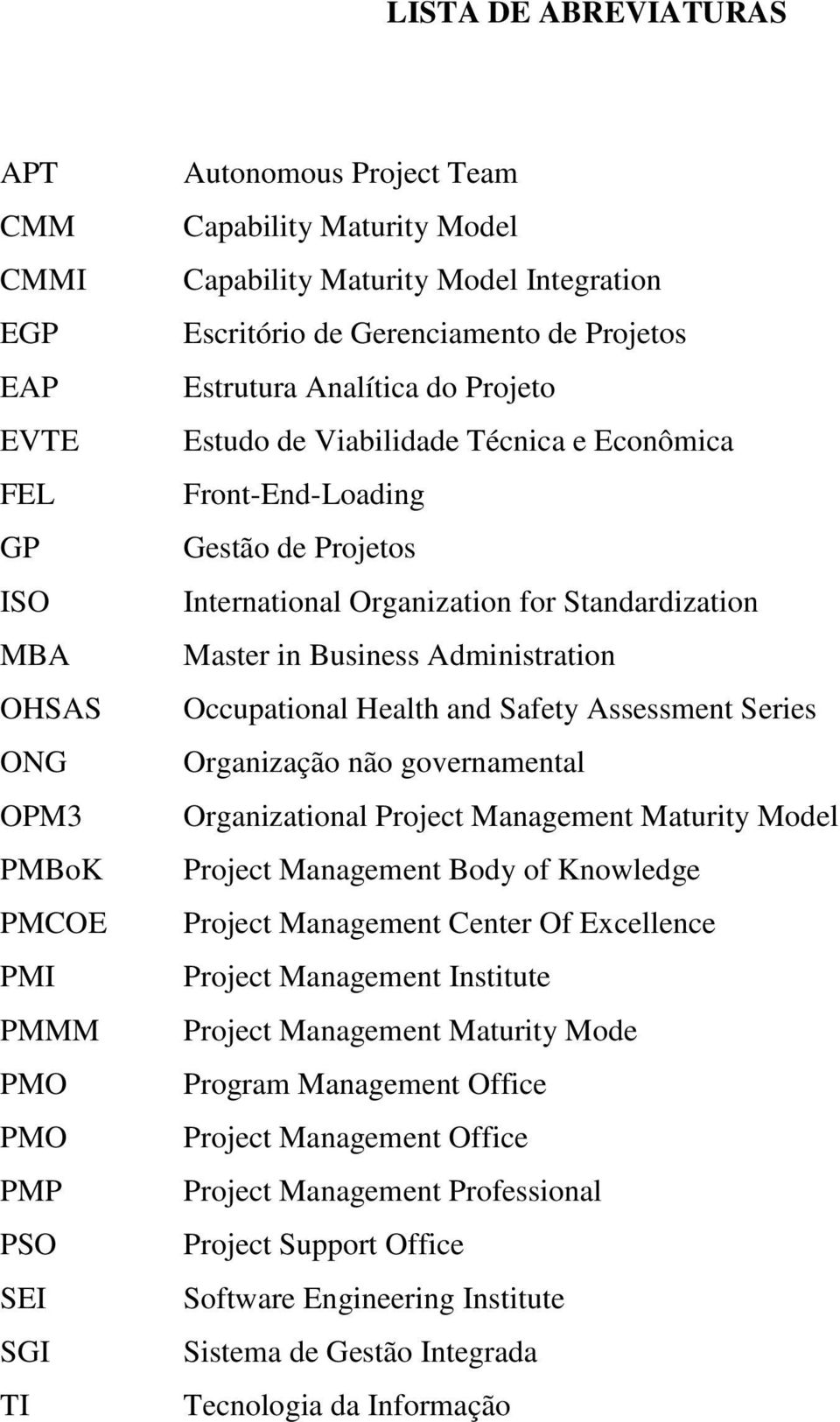 Standardization Master in Business Administration Occupational Health and Safety Assessment Series Organização não governamental Organizational Project Management Maturity Model Project Management
