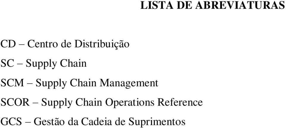 Chain Management SCOR Supply Chain