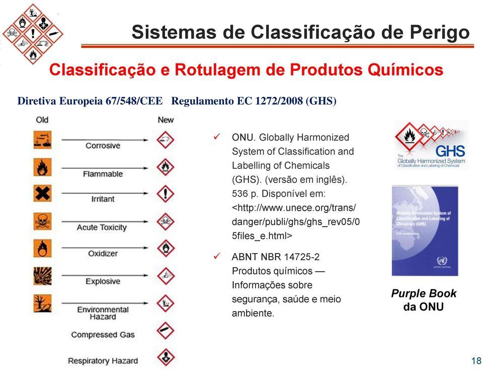 Globally Harmonized System of Classification and Labelling of Chemicals (GHS). (versão em inglês). 536 p.