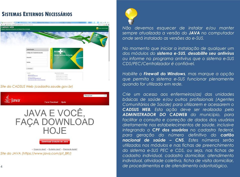 Site do CADSUS Web (cadastro.saude.gov.br) Site do JAVA (https://www.java.