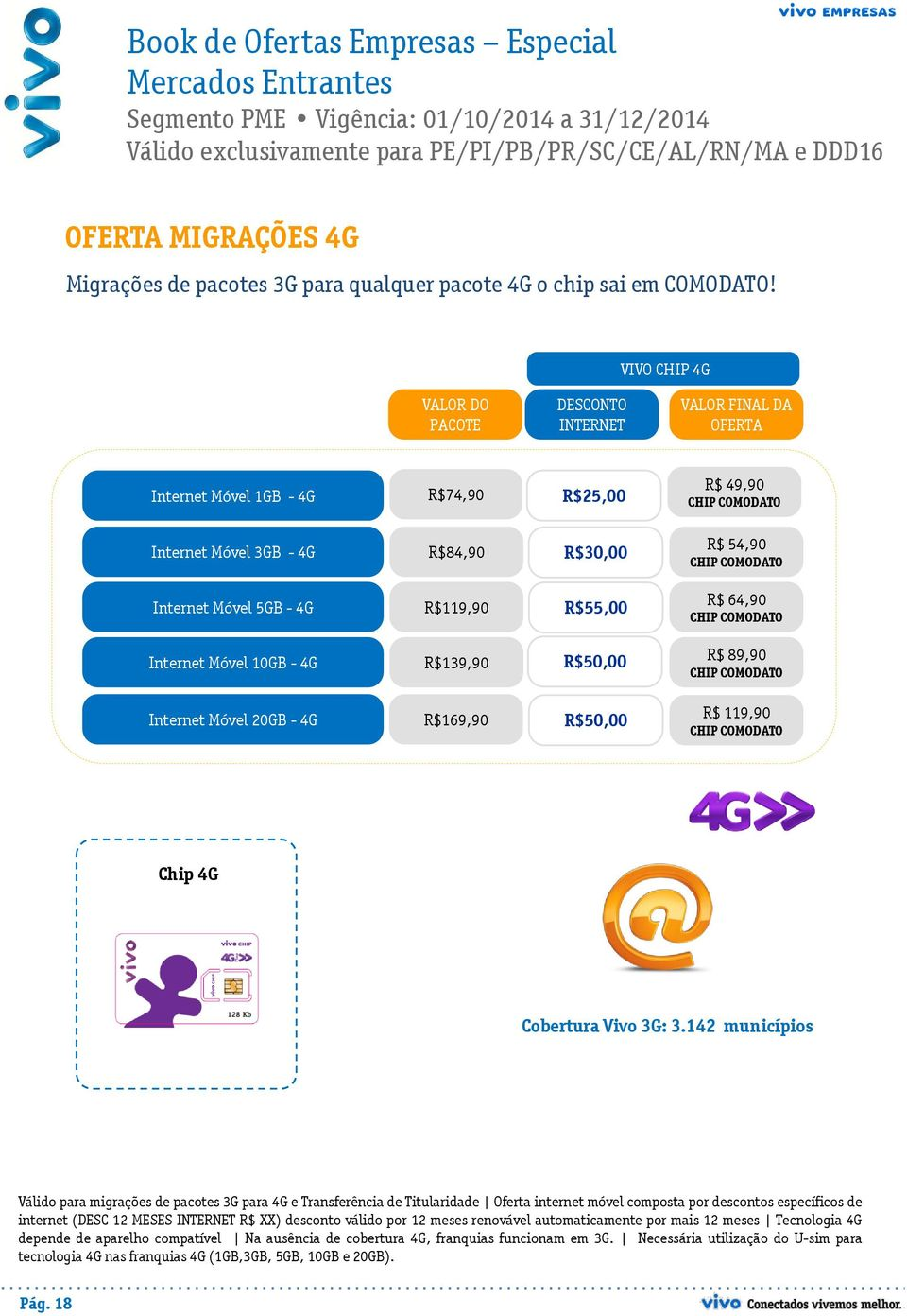 Internet Móvel 5GB - 4G R$119,90 R$55,00 R$ 64,90 CHIP COMODATO Internet Móvel 10GB - 4G R$139,90 R$50,00 R$ 89,90 CHIP COMODATO Internet Móvel 20GB - 4G R$169,90 R$50,00 R$ 119,90 CHIP COMODATO Chip