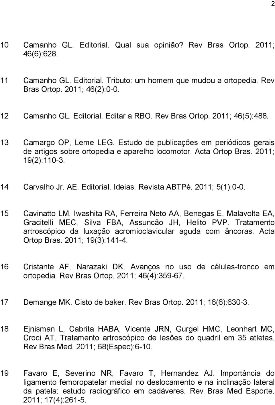 2011; 19(2):110-3. 14 Carvalho Jr. AE. Editorial. Ideias. Revista ABTPé. 2011; 5(1):0-0.
