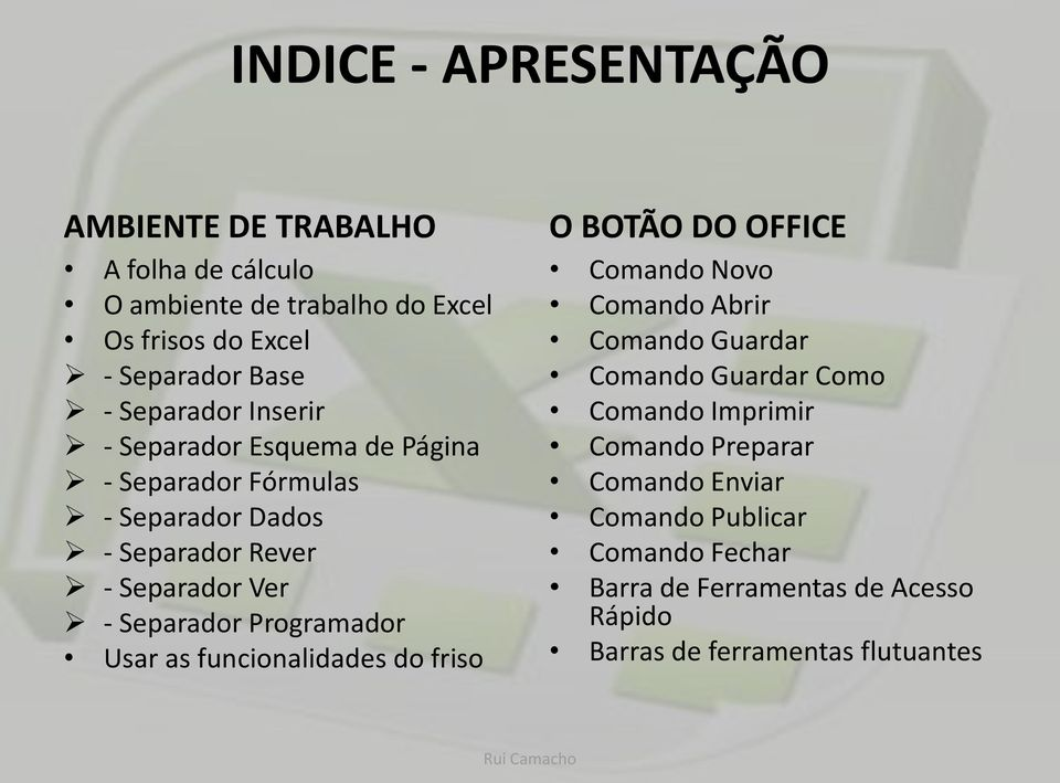 Programador Usar as funcionalidades do friso O BOTÃO DO OFFICE Comando Novo Comando Abrir Comando Guardar Comando Guardar Como Comando