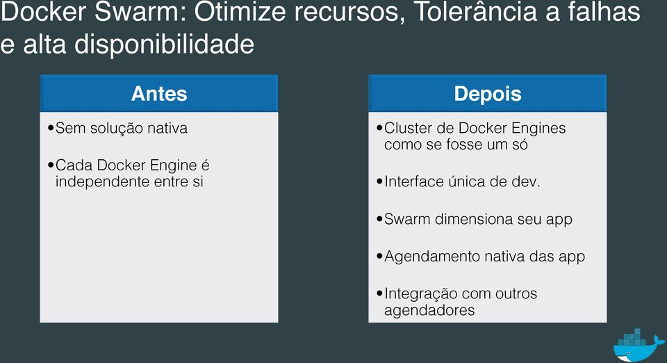 Cluster de Docker Engines como se fosse um só! Interface única de dev.