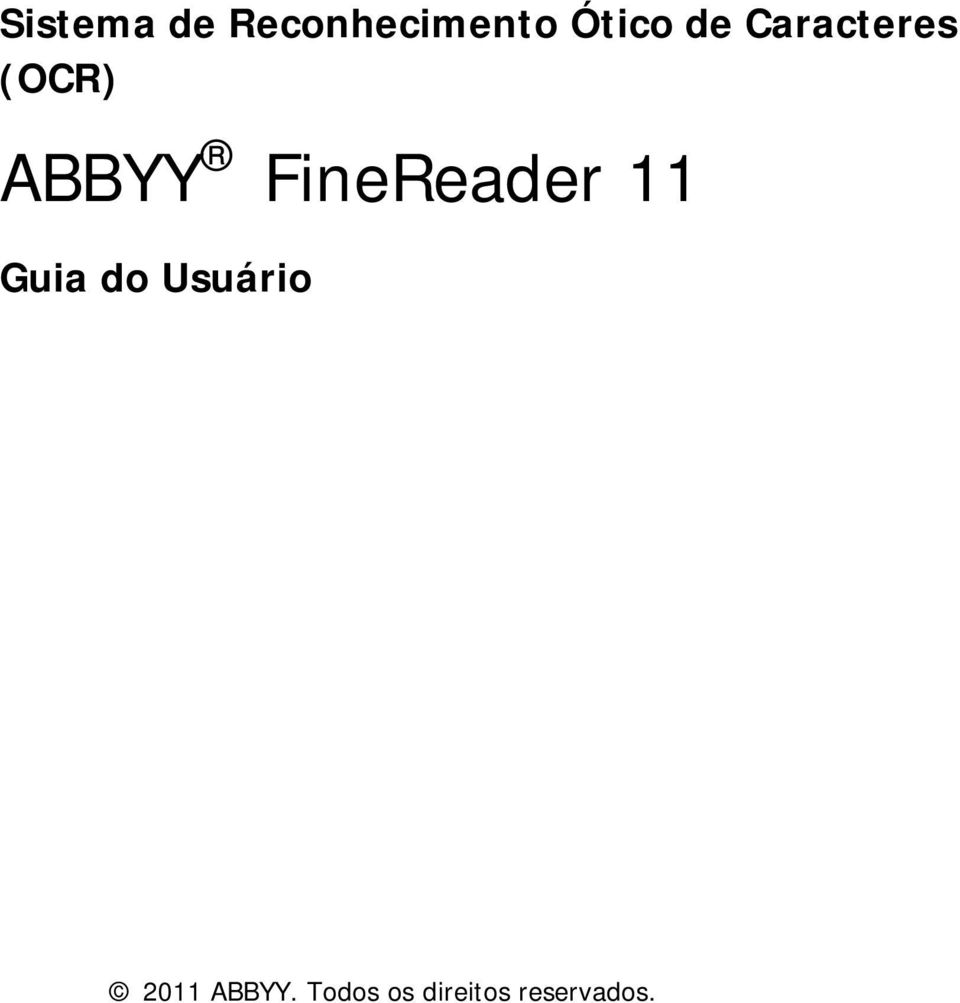 ABBYY FineReader 11 2011