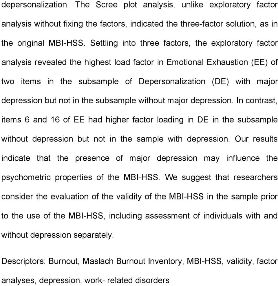 depression but not in the subsample without major depression.