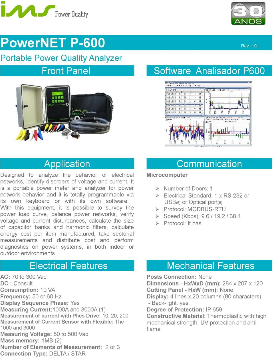 It is a portable power meter and analyzer for power network behavior and it is totally programmable via its own keyboard or with its own software.