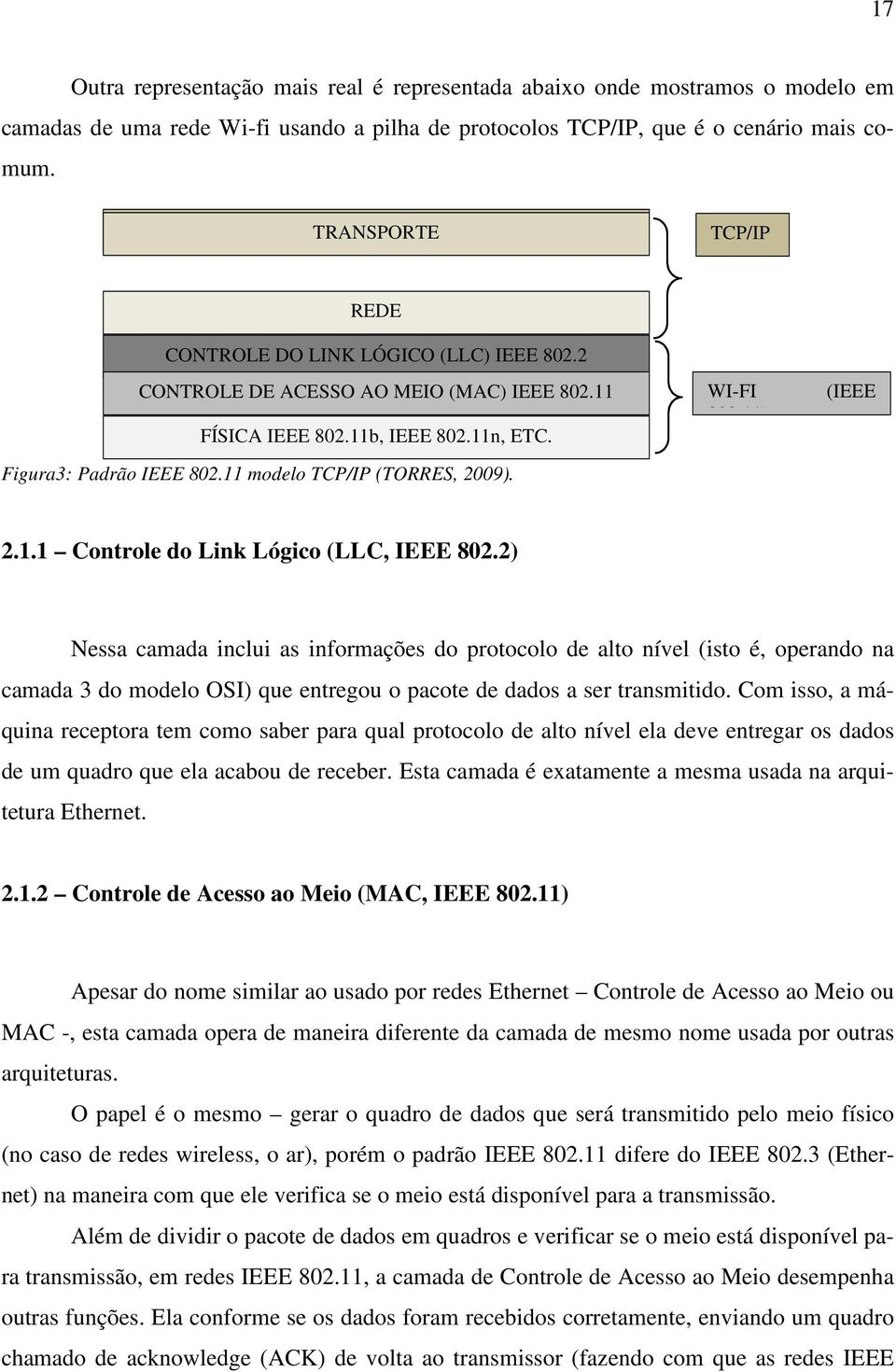 11 modelo TCP/IP (TORRES, 2009). WI-FI 802.11) (IEEE 2.1.1 Controle do Link Lógico (LLC, IEEE 802.
