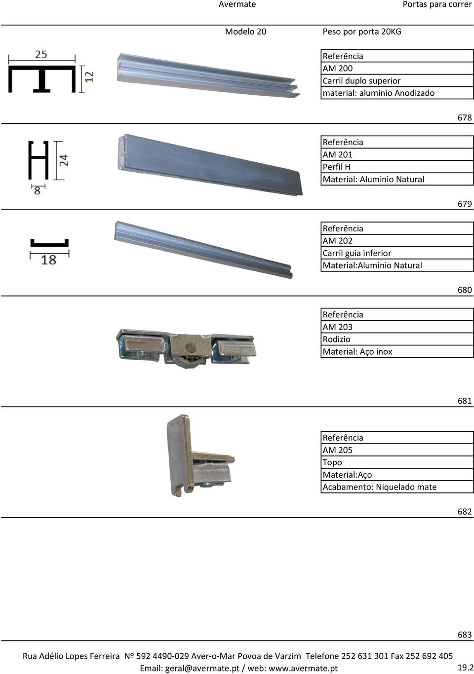 inferior Material:Aluminio Natural 680 AM 203 Rodizio Material: Aço inox 681 AM 205