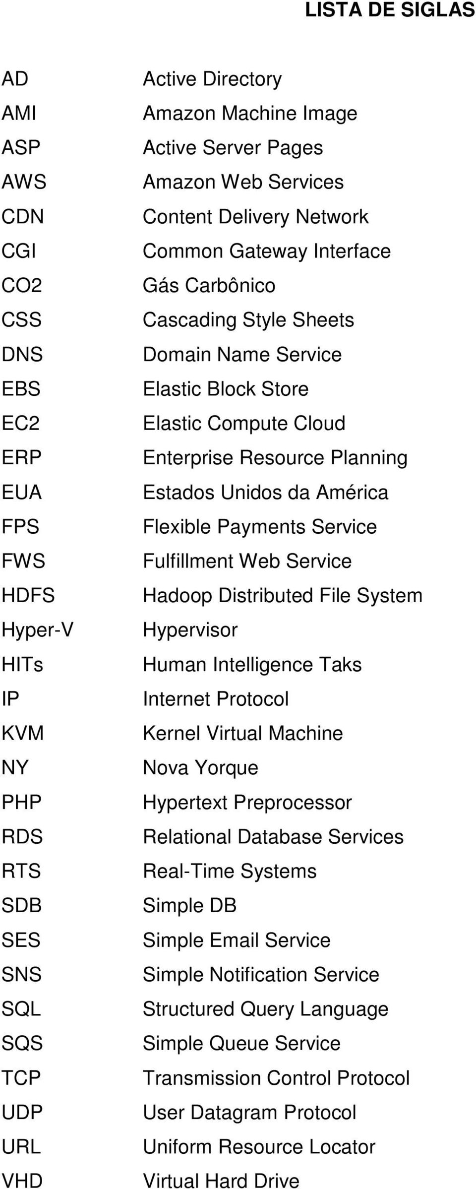 Resource Planning Estados Unidos da América Flexible Payments Service Fulfillment Web Service Hadoop Distributed File System Hypervisor Human Intelligence Taks Internet Protocol Kernel Virtual