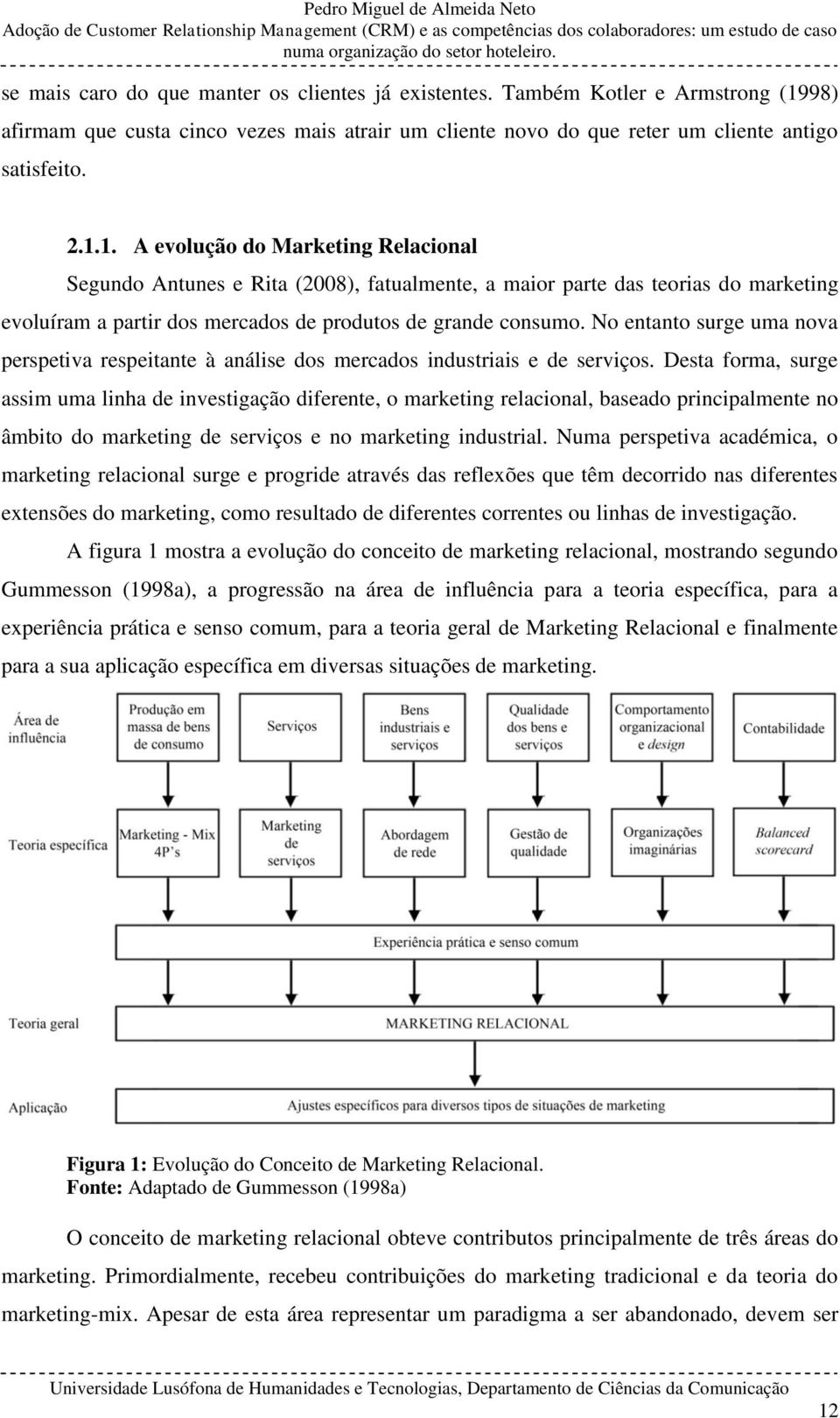 1. A evolução do Marketing Relacional Segundo Antunes e Rita (2008), fatualmente, a maior parte das teorias do marketing evoluíram a partir dos mercados de produtos de grande consumo.