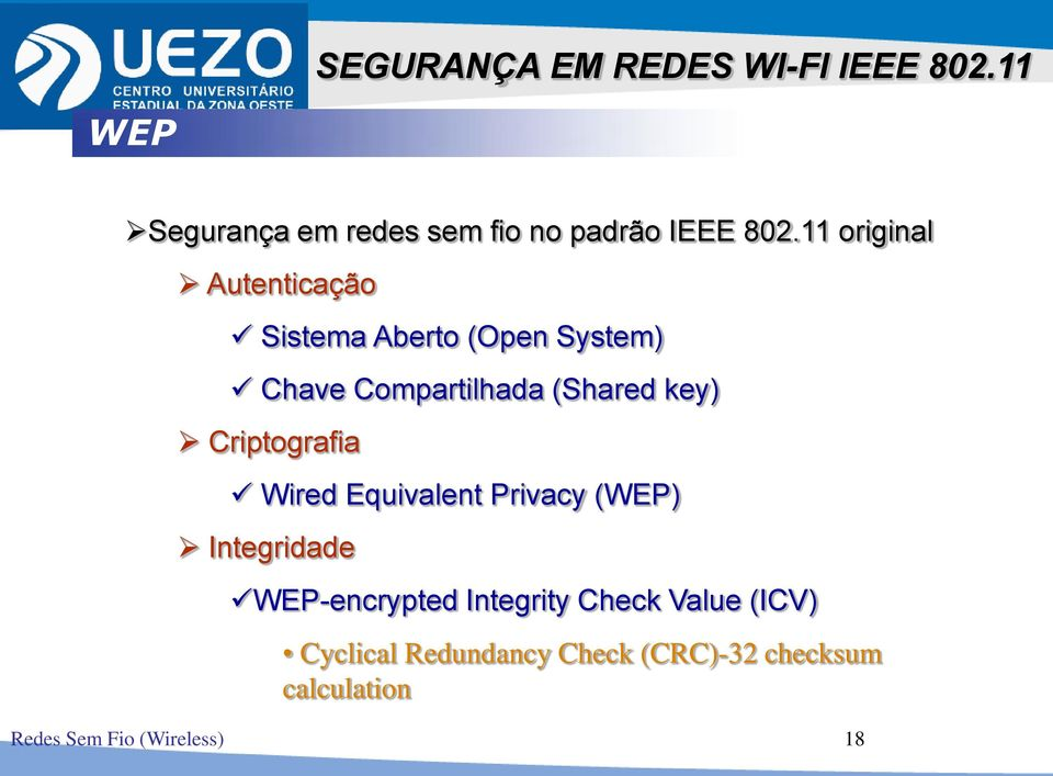 Criptografia Wired Equivalent Privacy (WEP) Integridade WEP-encrypted Integrity Check