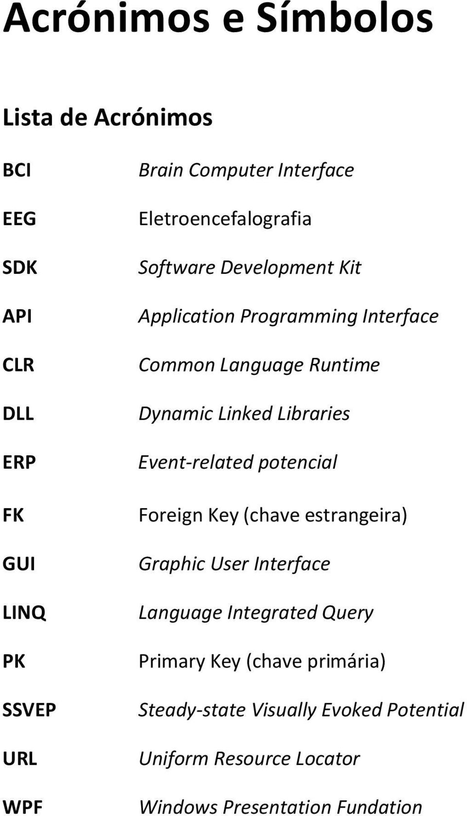 Dynamic Linked Libraries Event-related potencial Foreign Key (chave estrangeira) Graphic User Interface Language