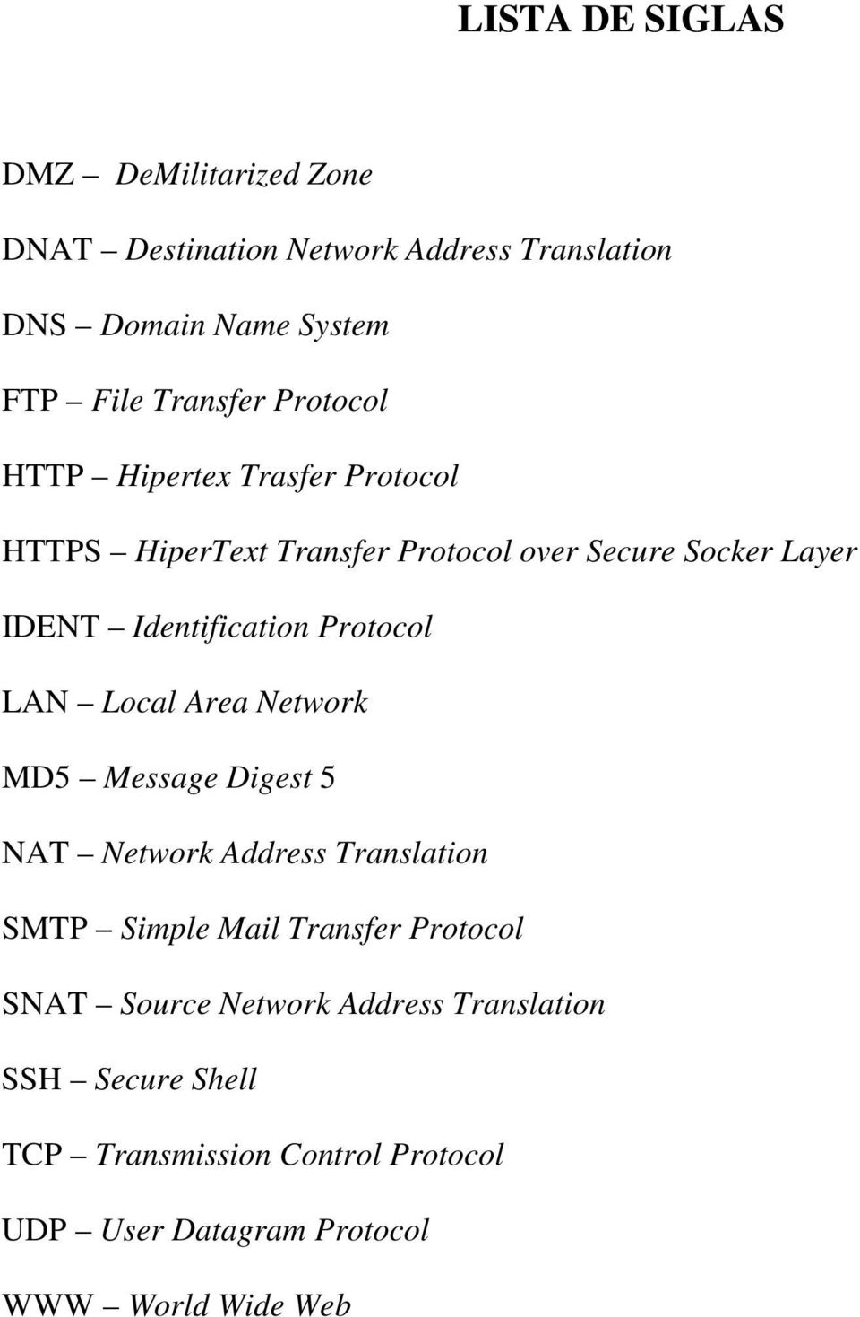 Protocol LAN Local Area Network MD5 Message Digest 5 NAT Network Address Translation SMTP Simple Mail Transfer Protocol SNAT