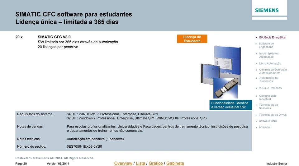 64 BIT: WINDOWS 7 Professional, Enterprise, Ultimate SP1 32 BIT: Windows 7 Professional, Enterprise, Ultimate SP1, WINDOWS XP Professional SP3 Para escolas