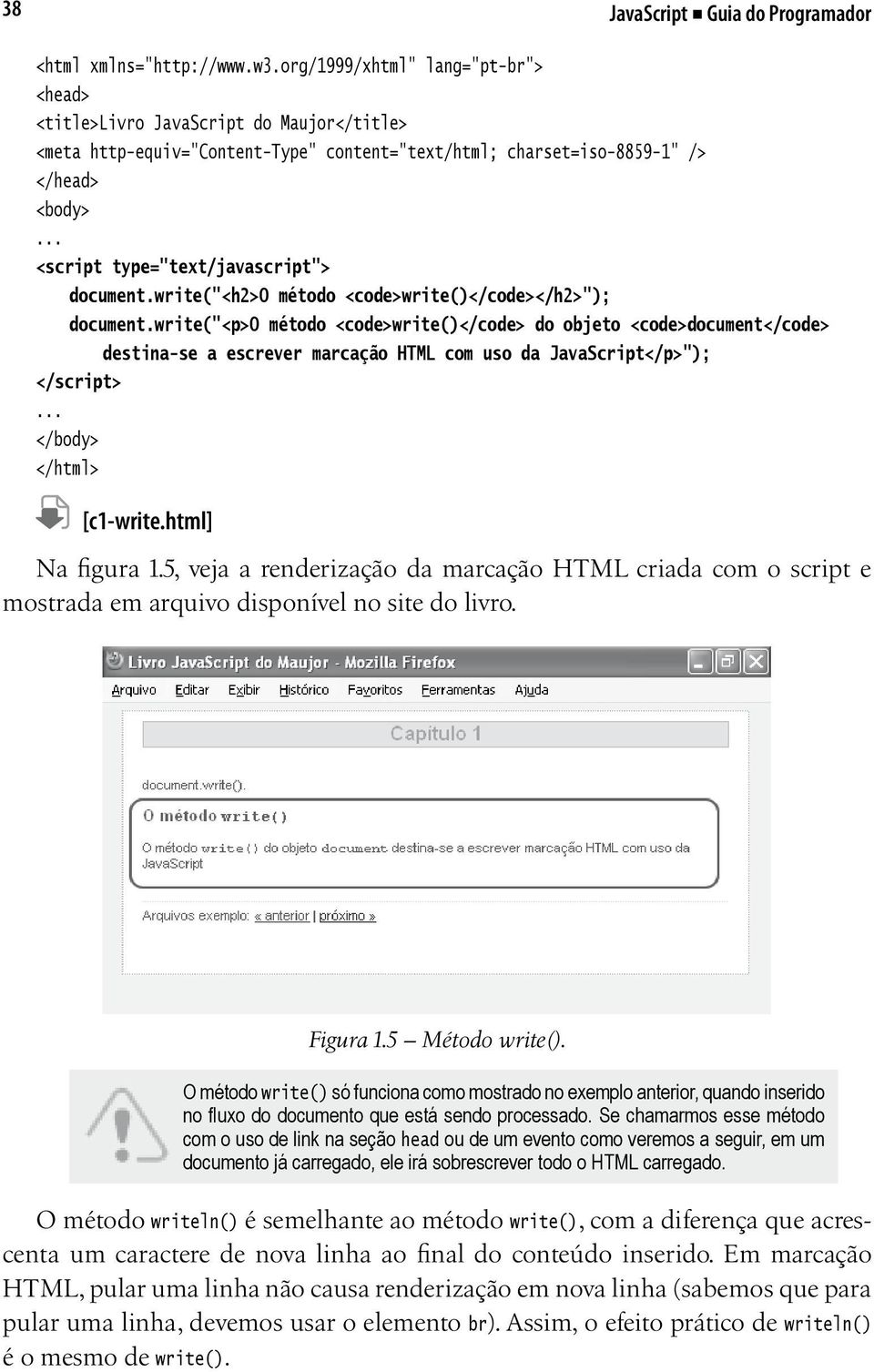 ".. <script type=""text/javascript""> document.write(""<h2>o método <code>write()</code></h2>""); document."