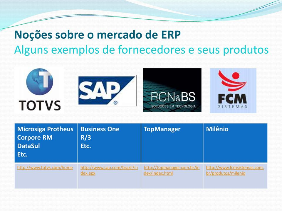 TopManager Milênio http://www.totvs.com/home http://www.sap.com/brazil/in dex.