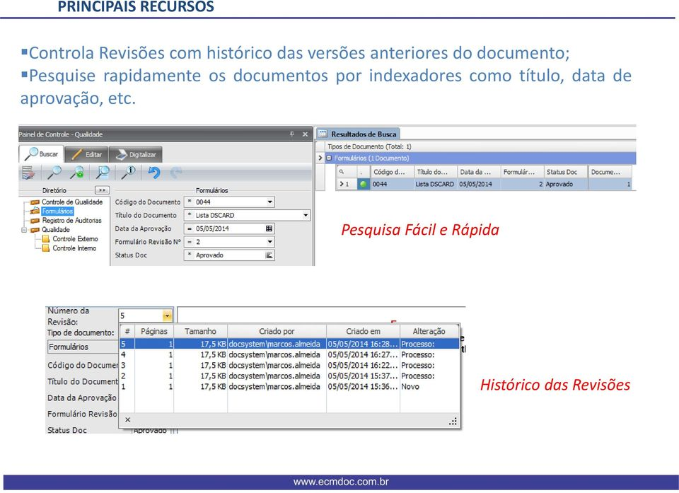 os documentos por indexadores como título, data de