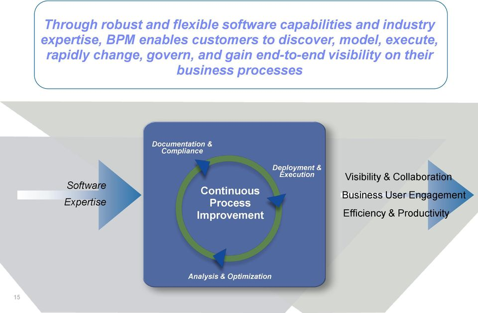 processes Documentation & Compliance Software Expertise Continuous Process Improvement Deployment &