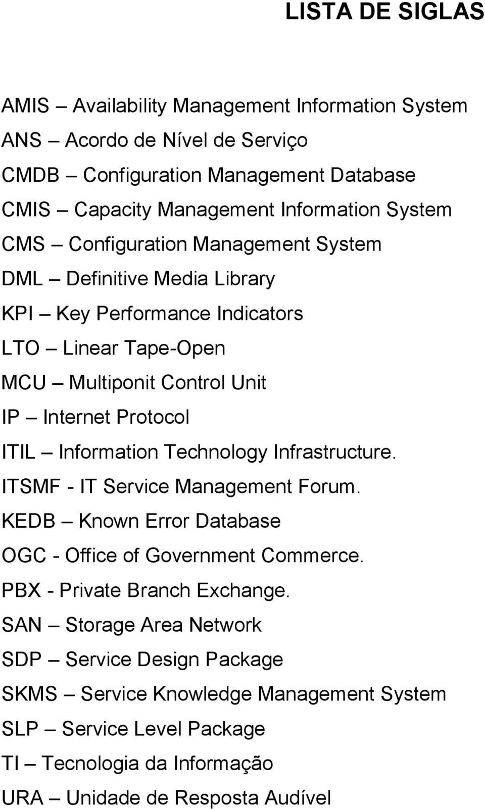 ITIL Information Technology Infrastructure. ITSMF - IT Service Management Forum. KEDB Known Error Database OGC - Office of Government Commerce. PBX - Private Branch Exchange.