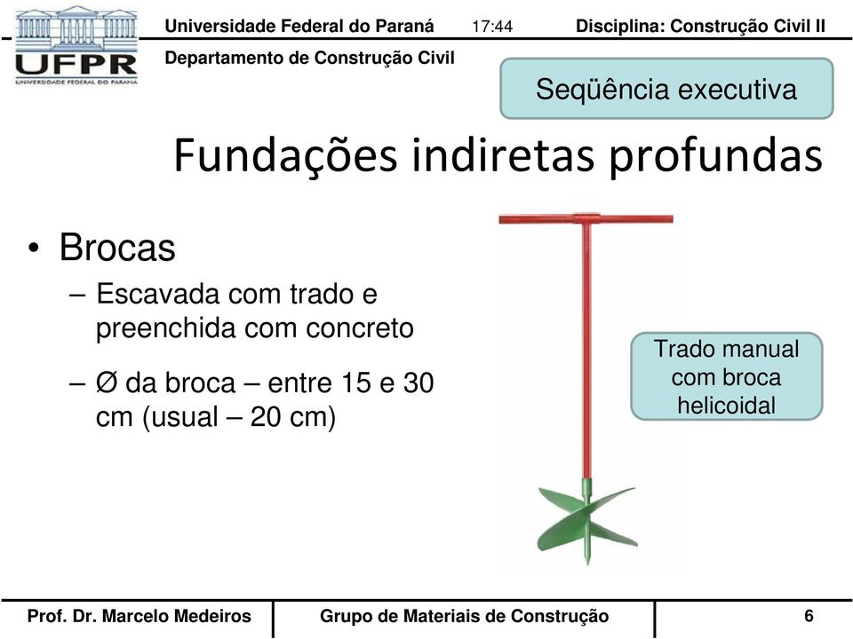 (usual 20 cm) Trado manual com broca helicoidal Prof.