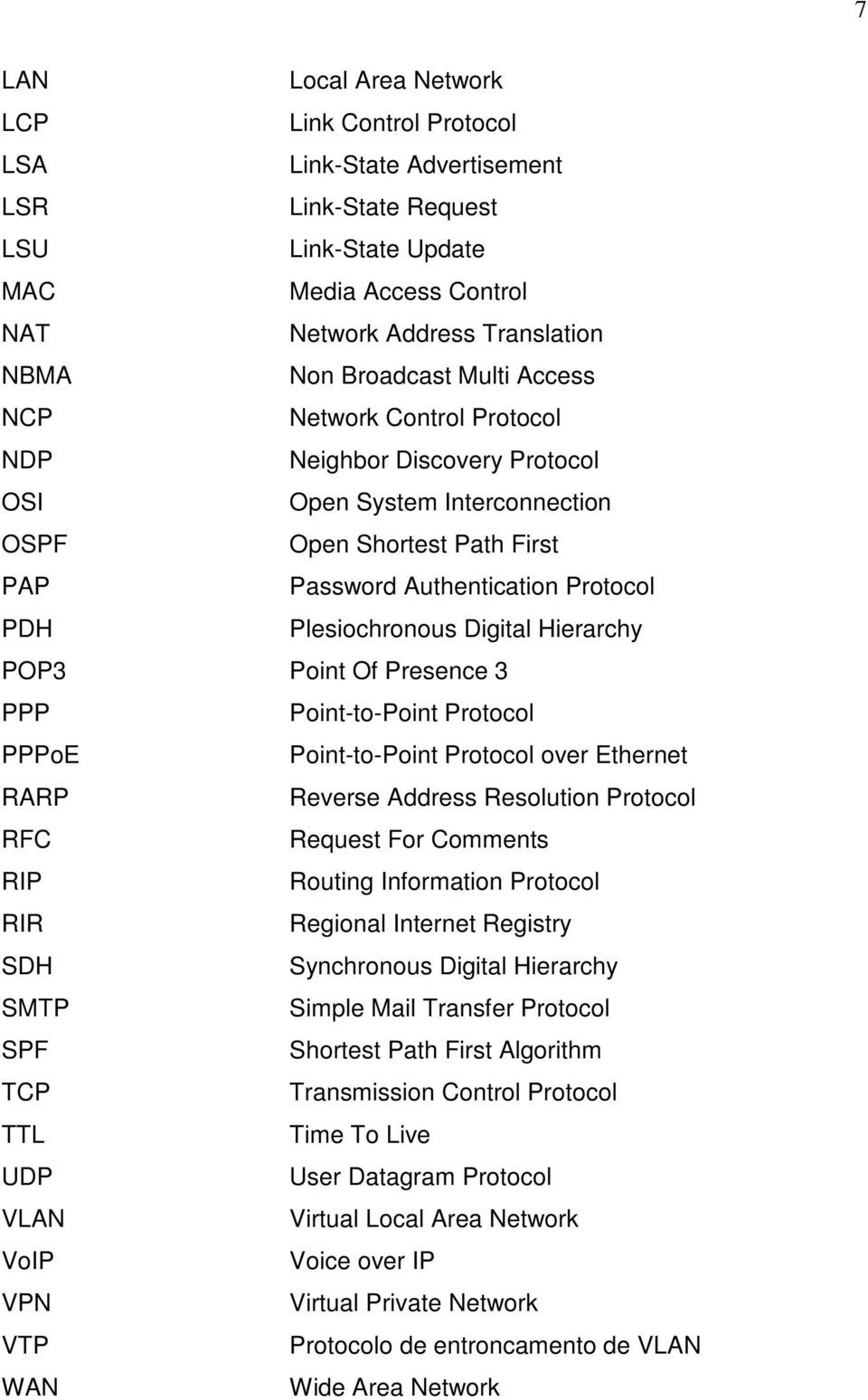 Plesiochronous Digital Hierarchy POP3 Point Of Presence 3 PPP Point-to-Point Protocol PPPoE Point-to-Point Protocol over Ethernet RARP Reverse Address Resolution Protocol RFC Request For Comments RIP