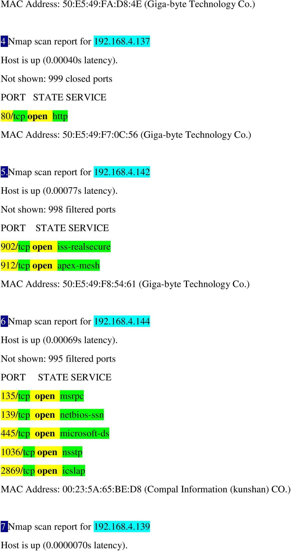 Not shown: 998 filtered ports PORT STATE SERVICE 902/tcp open iss-realsecure 912/tcp open apex-mesh MAC Address: 50:E5:49:F8:54:61 (Giga-byte Technology Co.) 6.Nmap scan report for 192.168.4.144 Host is up (0.