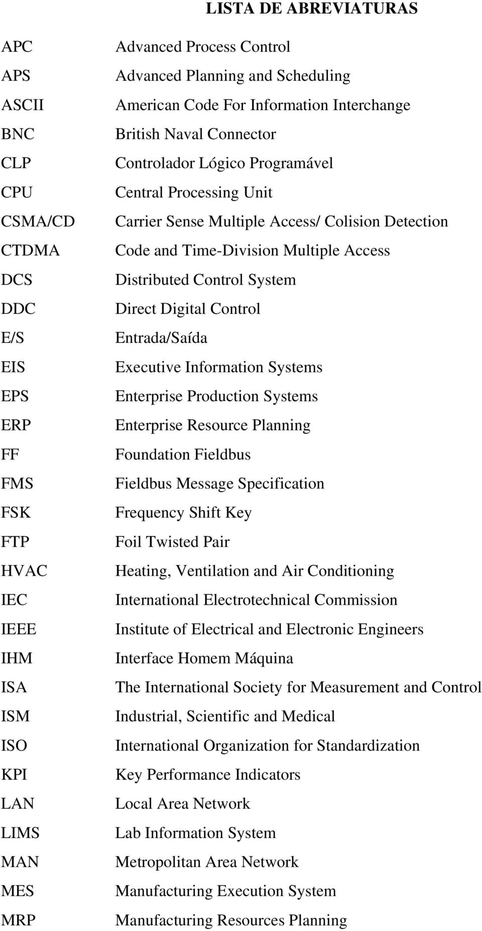 Time-Division Multiple Access Distributed Control System Direct Digital Control Entrada/Saída Executive Information Systems Enterprise Production Systems Enterprise Resource Planning Foundation