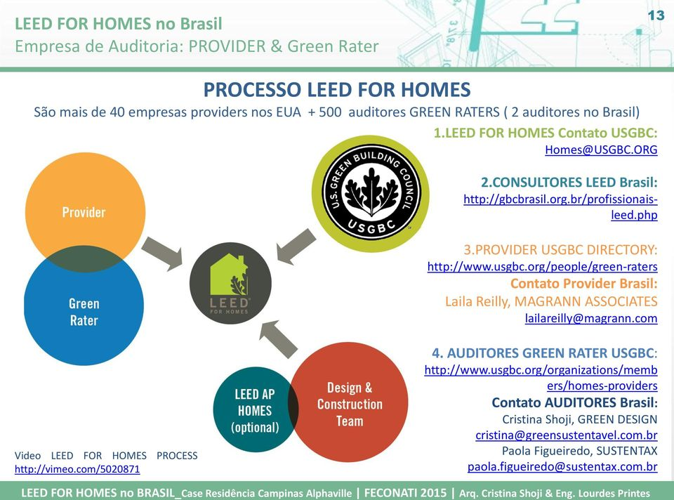 org/people/green-raters Contato Provider Brasil: Laila Reilly, MAGRANN ASSOCIATES lailareilly@magrann.com Video LEED FOR HOMES PROCESS http://vimeo.com/5020871 4.